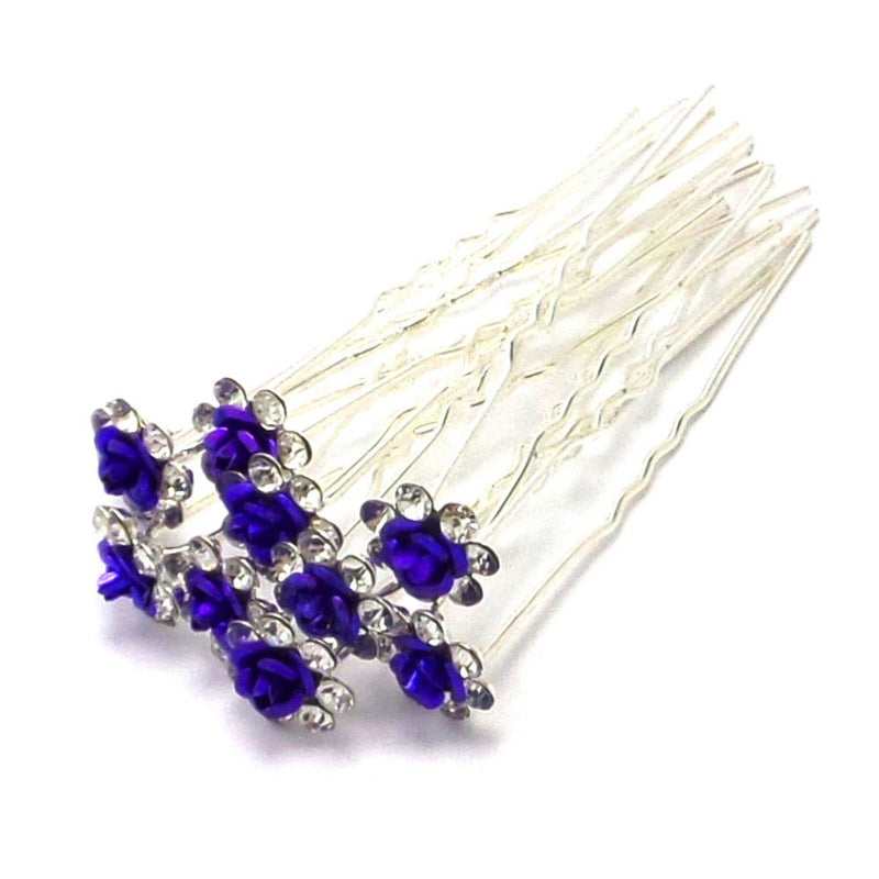 Rose Hair Pins - Purple-Hair Accessories-Bride Boutique