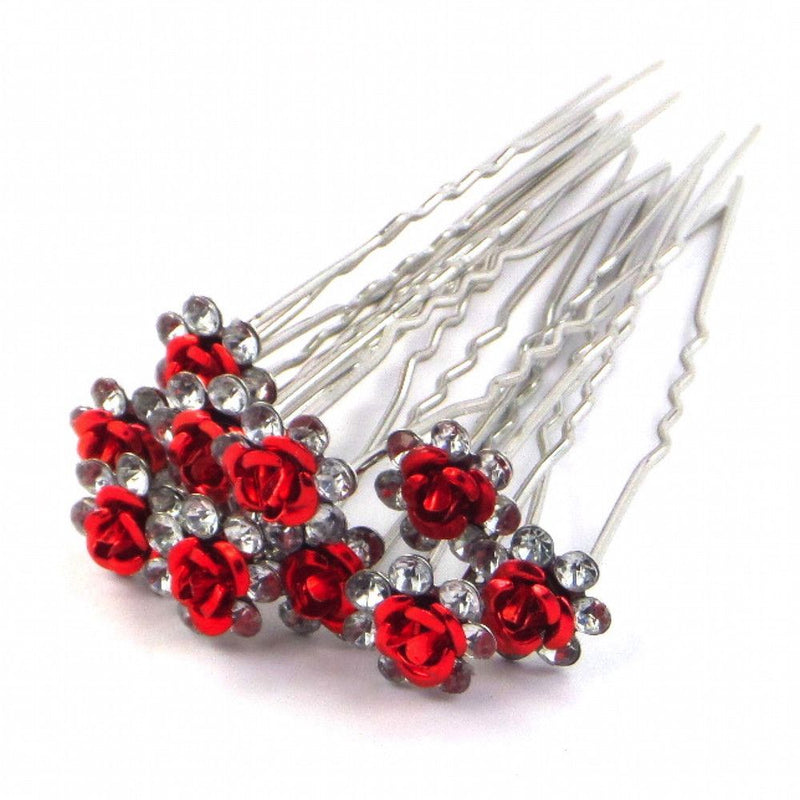 Rose Hair Pins - Red-Hair Accessories-Bride Boutique