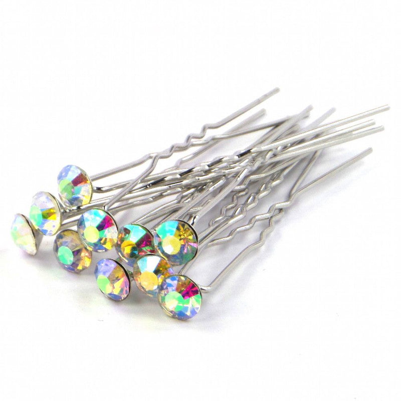 Crystal Wedding Hair Pins - AB Rainbow-Hair Accessories-Bride Boutique