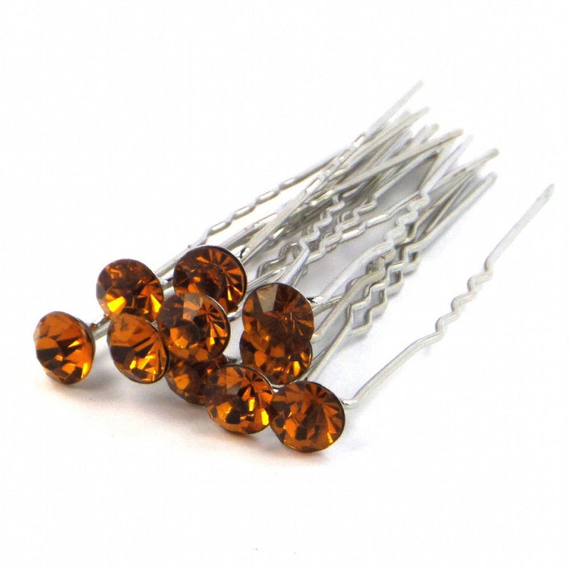 Crystal Wedding Hair Pins - Amber-Hair Accessories-Bride Boutique