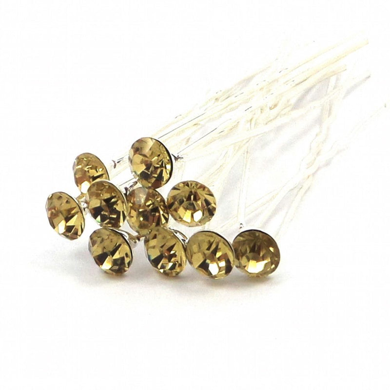 Crystal Wedding Hair Pins - Gold-Hair Accessories-Bride Boutique