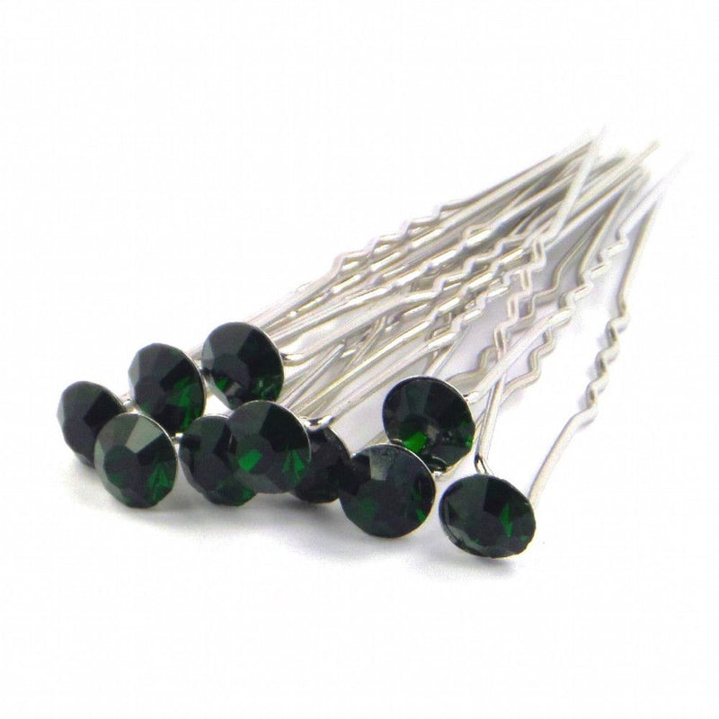 Crystal Wedding Hair Pins - Deep Emerald-Hair Accessories-Bride Boutique
