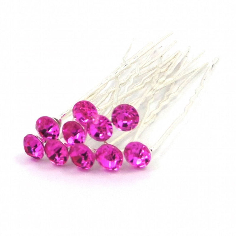 Crystal Wedding Hair Pins - Hot Pink-Hair Accessories-Bride Boutique
