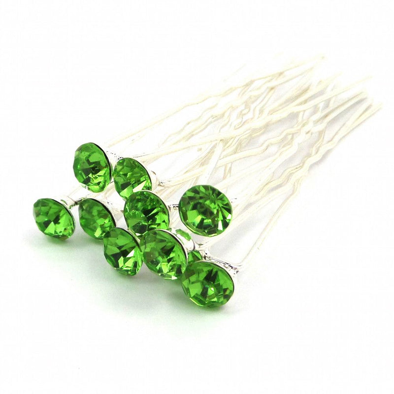 Crystal Wedding Hair Pins - Green-Hair Accessories-Bride Boutique