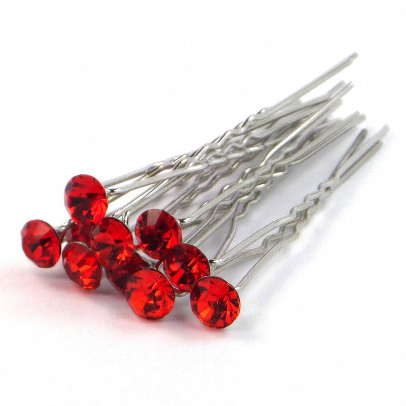 Crystal Wedding Hair Pins - Ruby Red-Hair Accessories-Bride Boutique
