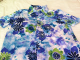 Blue-Green Floral Men's Button-Down Running / Golfing Shirt