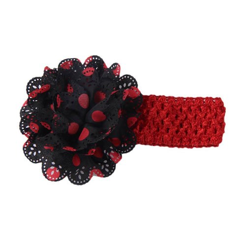 Gardenia Crochet hair band Black-Red