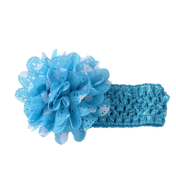 Gardenia Crochet hair band Blue-White