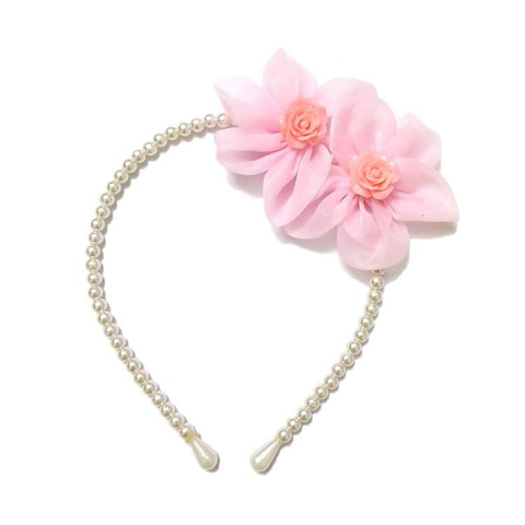 Twin Flower Pearl hair band Light Pink