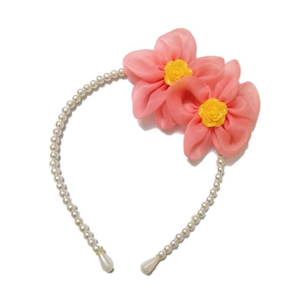 Twin Flower Pearl hair band Tomato