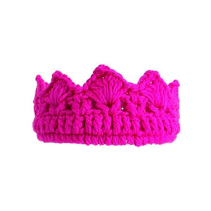 Knitted cotton crown hair band Dark Pink