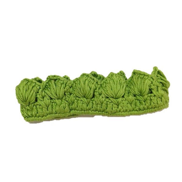 Knitted cotton crown hair band Green