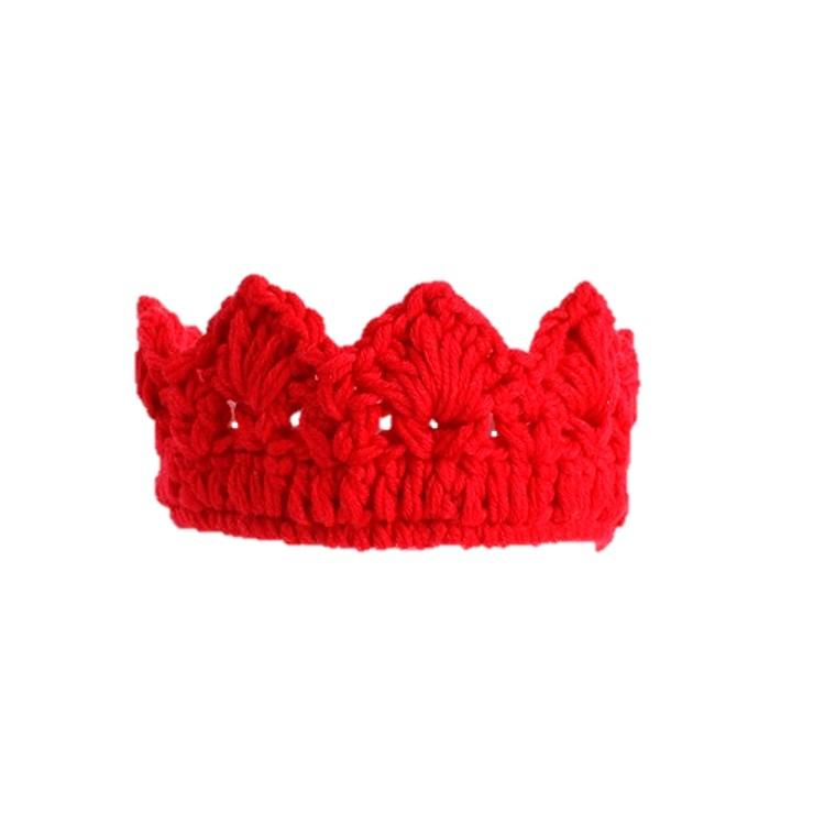 Knitted cotton crown hair band Red