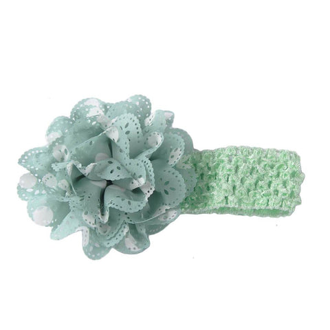 Gardenia Crochet hair band Pale Green-White