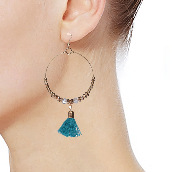 Loop Tassel earrings Blue