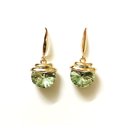 Stone Drop Crystal earrings Olive
