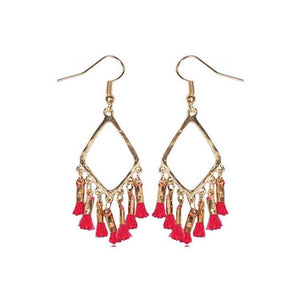 Pink Hippo Store Abstract Tassel earrings Pink