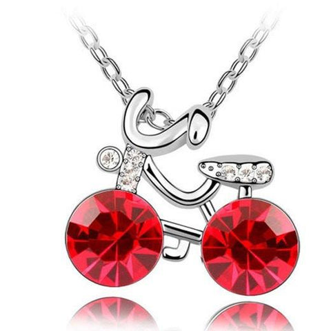 Pink Hippo Store Bicycle Crystal necklace Red Red