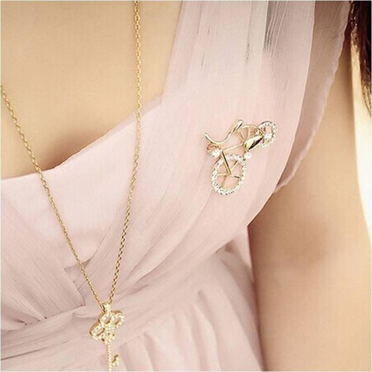 7d55470d299 ... Pink Hippo Store Bicycle Rhinestone brooch
