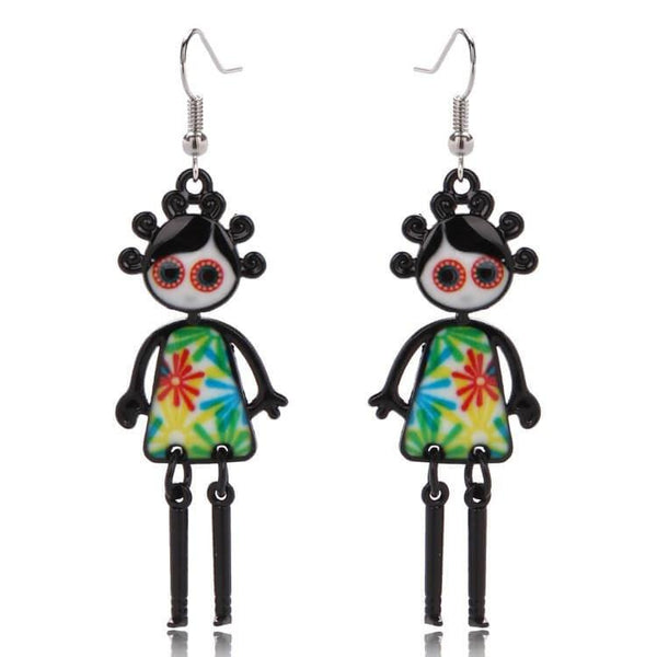 Pink Hippo Store Bubble Girl Dangle earrings Multi-color