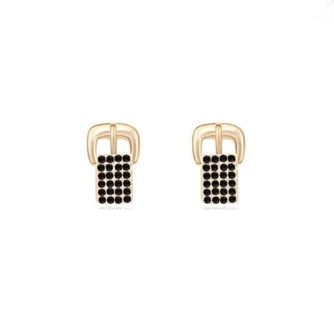 Pink Hippo Store Buckle Crystal earrings Black