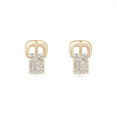 Pink Hippo Store Buckle Crystal earrings Clear