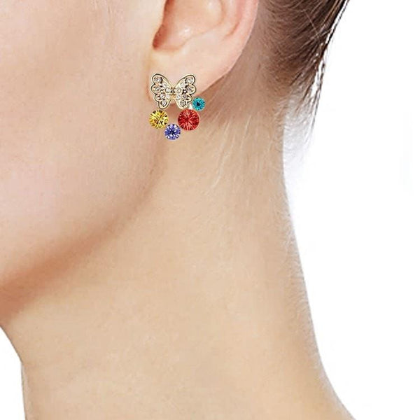 Pink Hippo Store Butterfly Aura Crystal earrings Multi Color