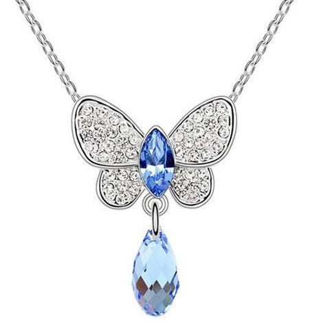 Pink Hippo Store Butterfly Crystal Drop necklace Light Blue Light Blue