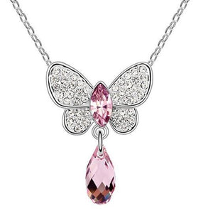 Pink Hippo Store Butterfly Crystal Drop necklace Light Purple Light Purple