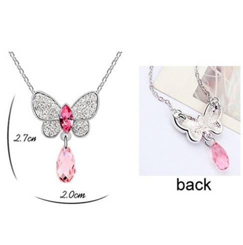 Pink Hippo Store Butterfly Crystal Drop necklace Pink