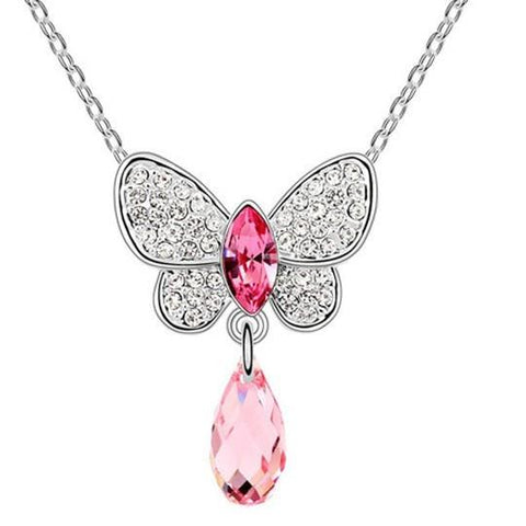 Pink Hippo Store Butterfly Crystal Drop necklace Pink Pink