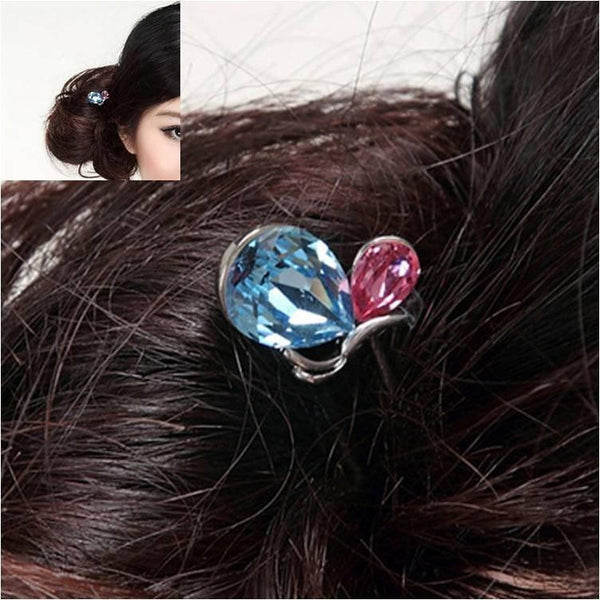 Pink Hippo Store Butterfly Crystal hair pin Blue