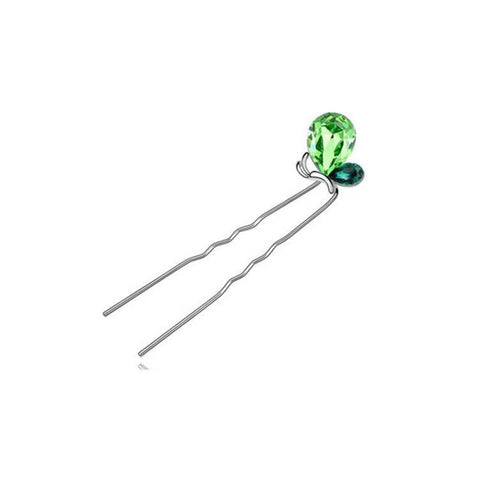 Pink Hippo Store Butterfly Crystal hair pin Green