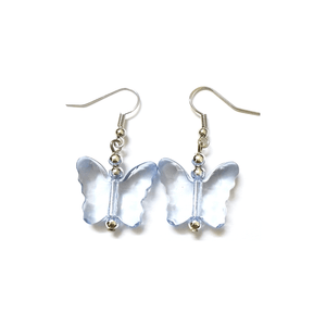Pink Hippo Store Butterfly Drop earrings Blue