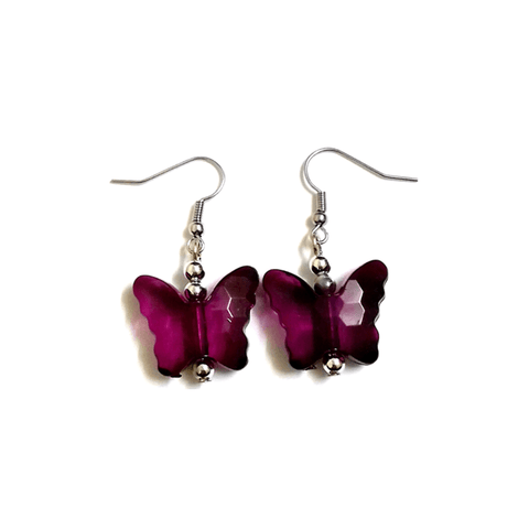 Pink Hippo Store Butterfly Drop earrings Purple