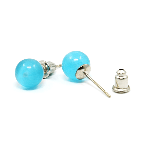 Pink Hippo Store Cat Eye Ball Stud earrings Light Blue