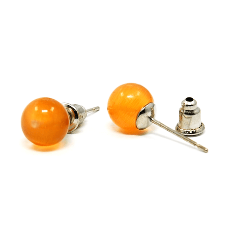 Pink Hippo Store Cat Eye Ball Stud earrings Orange