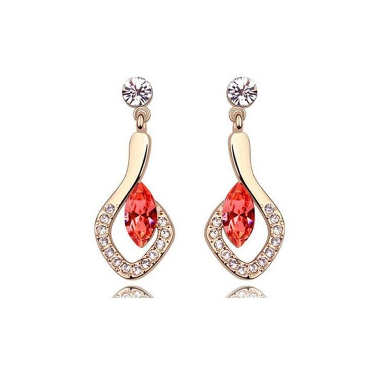 Pink Hippo Store Crystal in Leaf earrings Red