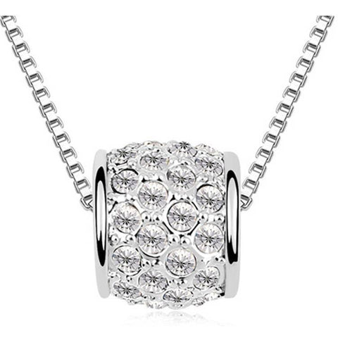 Pink Hippo Store Cute Barrel Crystal Necklace Clear