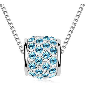 Pink Hippo Store Cute Barrel Crystal Necklace Ocean Blue