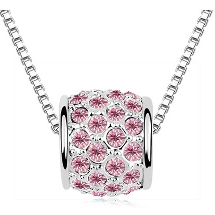 Pink Hippo Store Cute Barrel Crystal Necklace Pink