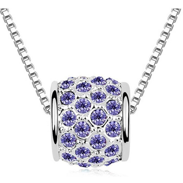 Pink Hippo Store Cute Barrel Crystal Necklace Purple