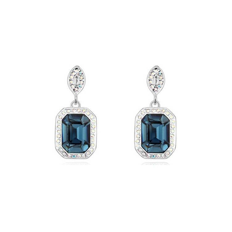 Pink Hippo Store Designer Crystal Earrings Blue Black