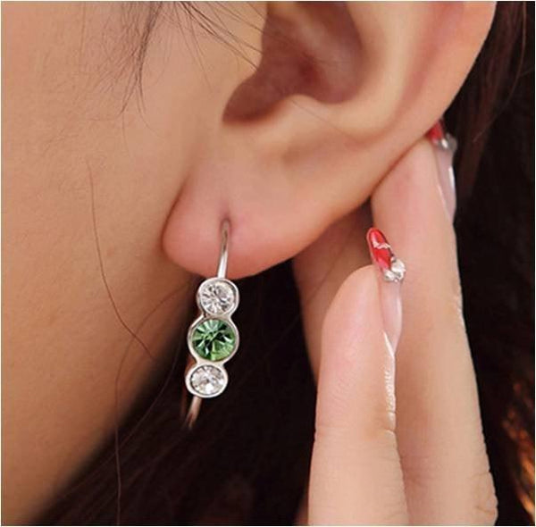 Pink Hippo Store Dot Crystal Ring earrings Green-Clear