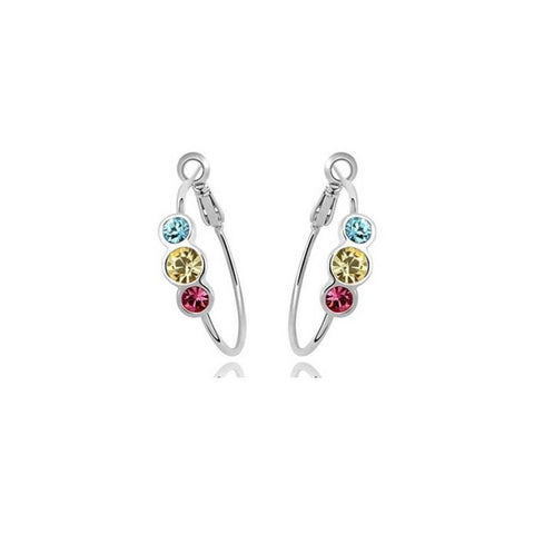 Pink Hippo Store Dot Crystal Ring earrings Multi-color