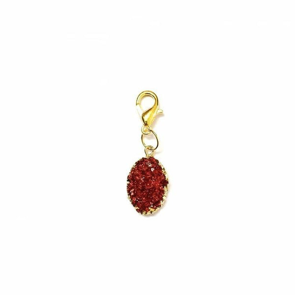 Pink Hippo Store Druzy Bling charm Red