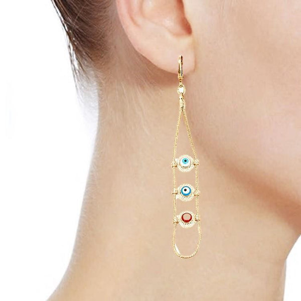 Pink Hippo Store Eye Dangle earrings Multicolor