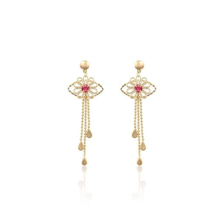 Pink Hippo Store Eye Luck Zircon earrings Pink
