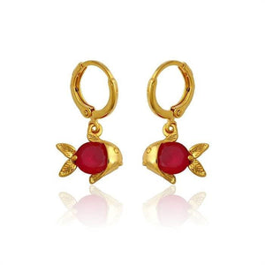 Pink Hippo Store Fish Conversation Zircon earrings Red