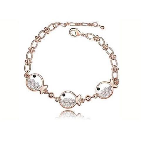 Pink Hippo Store Fish Crystal bracelet Clear Clear